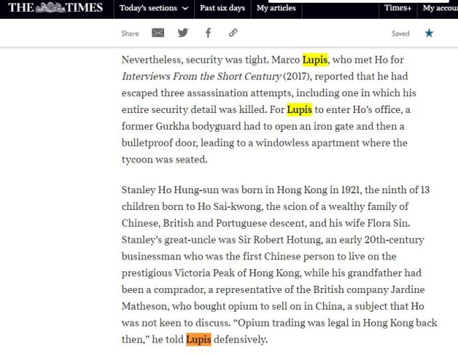 The Times -Obituario Stanley Ho Cattura